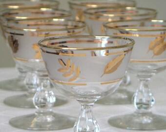 Libbey Gold Leaf Sherbet Glasses