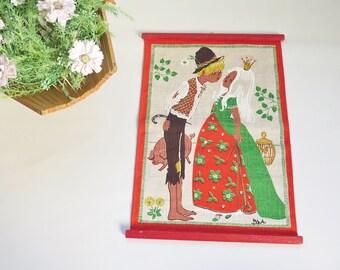 Vintage Wall Decor by Bowa, Peasant and Princess, Kids Room Decor, Printed Linen Wall Hanging, Swedish Vintage Textiles #2-22