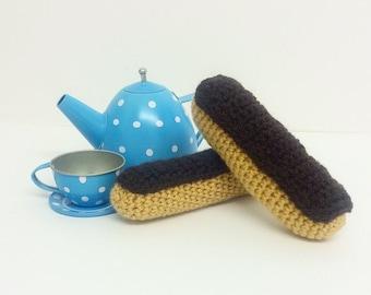 Play Food Crochet Chocolate Eclairs set of 2, Gift, Amigurumi