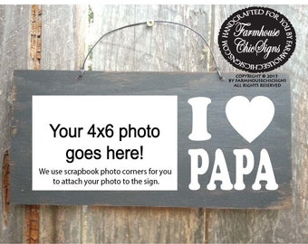 papa, papa gifts, gifts for papa, papa sign, papa picture frame, rustic papa sign, father's day gift, Christmas gift for papa, 130