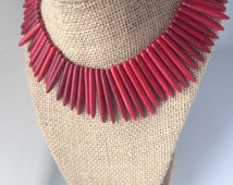 "The ""WindJammer"" Pink or White or Red or Turquoise Howlite Spikes Necklace."