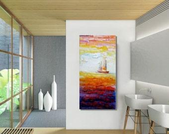 Canvas Art, Abstract Art, Abstract Painting, Large Art, Modern Art, Large Painting, Large Wall Art, Original Painting, Sailing Boat at Sea