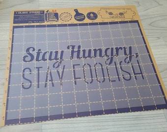 """A4 Wording Stencil """"Stay hungry Stay foolish""""."""