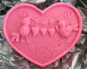 15 JOY BIRDS SOAP - Heart shaped oval soap - bridal shower - wedding favor - baby shower - girl - boy - neutral - decorative soap -Joy- gift
