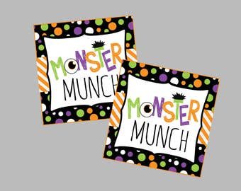 Monster Munch Halloween Treat Tags. Instant Digital Download. Great for Monster Party or Halloween Treats.