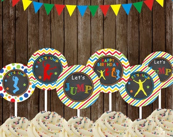 Jump Cupcake Toppers ,Jump Party Printable, Jump Bounce House  DIY, INSTANT DOWNLOAD Printable,Bounce house toppers,Trampoline toppers