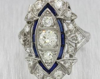 Antique Art Deco 1920s Platinum .42ct H-I SI2 Diamond Sapphire Engagement Ring