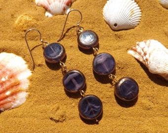 Purple earrings, boho earrings, purple drop earrings, Czech glass earrings, round earrings, purple and bronze earrings