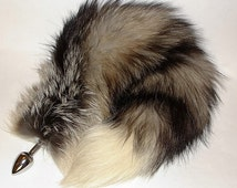 "Tail Plug, 17"" NORTHERN LIGHTS  Fox Tail Butt Plug, MATURE, Detachable or Permanently,Cosplay, Fetish Wear, Neko, Metal Butt Plug, bdsm"