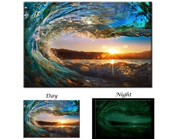 Glow in the Dark Canvas Wall Art - Sunset Sea Ocean Wave Canvas Art Print - Ready to Hang