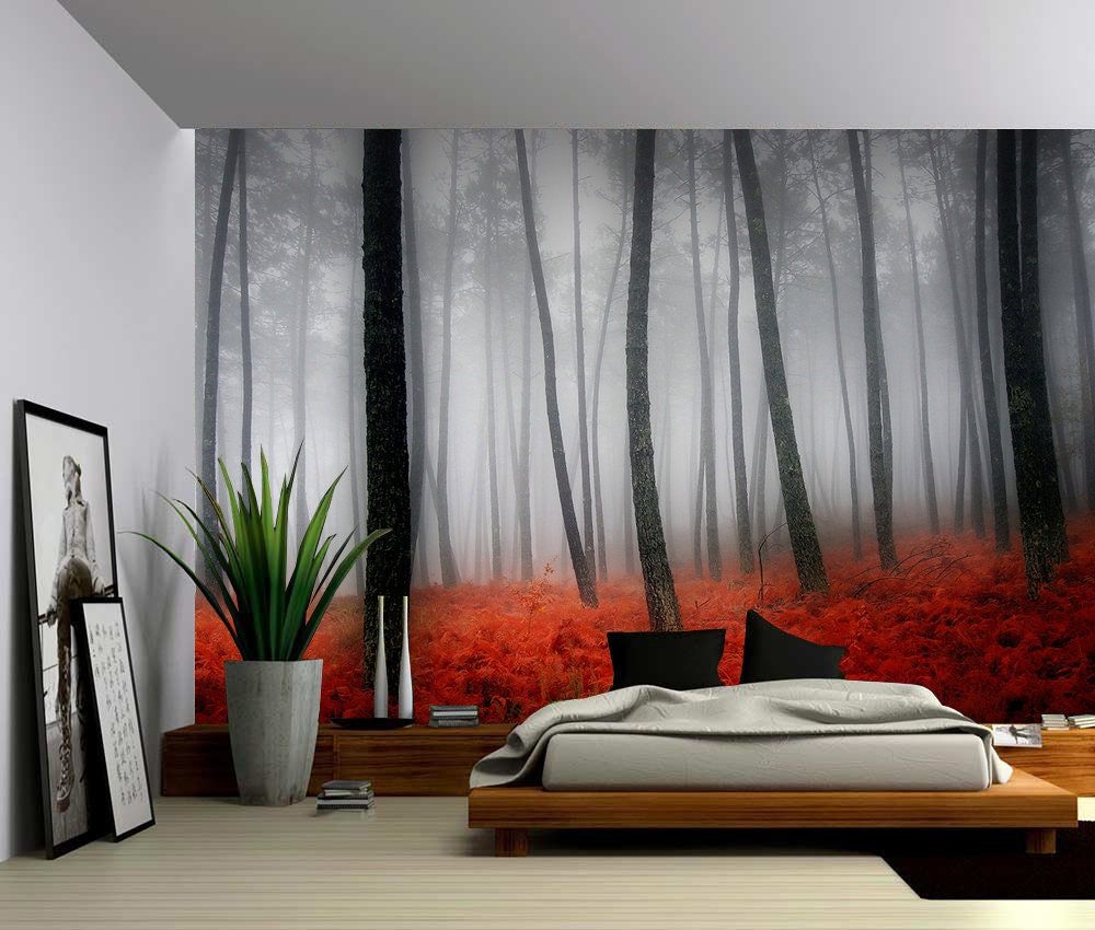 Nature autumn misty forest large wall mural self adhesive for Autumn forest wall mural