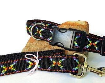 Adjustable Rainbow Leash And Collar Set Medium