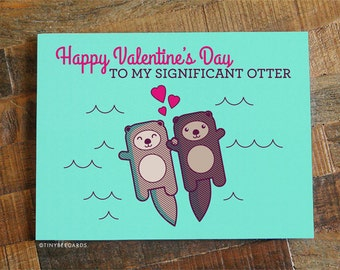 Cute Valentines Day Card - Significant Otter, Funny Valentine's Day Card, Love Card, Otter Pun Card, I love you card, fun v-day card