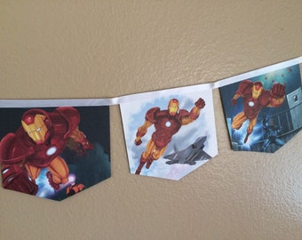 Iron-Man banner upcycled Marvel book