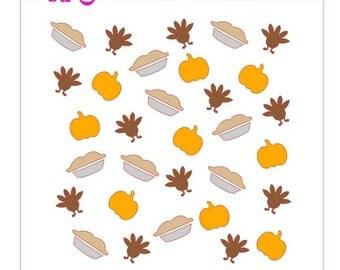 Thanksgiving Dinner Background Stencil Turkey Pie Pumpkin