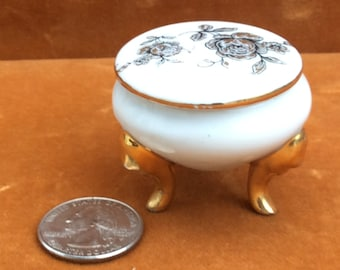 vintage porcelain hand painted little footed box