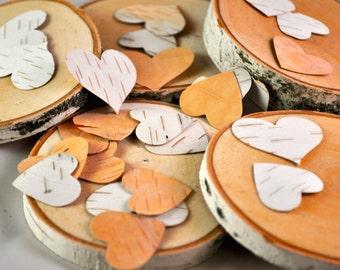 White Birch Hearts - 20 a Set - White Birch Bark - Wedding Favors - Birch Logs - Valentines - Heart - Bark Hearts