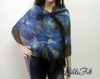 Nuno Felted Silk Scarf Shawl Wrap BLUE SUMMER FLOWERS Ecofriendly