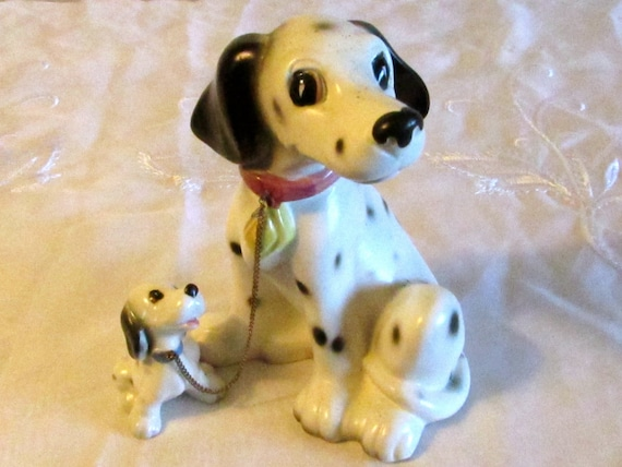 Mom Dalmatian with Pup, Lipper and Mann Figurine, Dog Lover, Mid Century Dog Set, Chained Mom with Pup, laslovelies