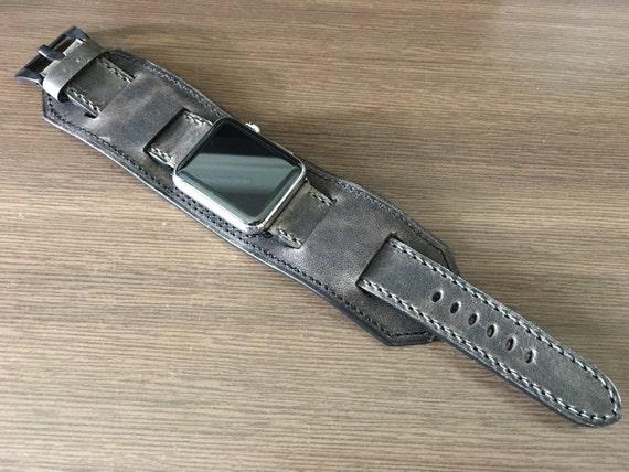 Apple Watch Band   Apple Watch Strap   Vintage Leather Cuff Watch Band   Vintage Dark Grey Leather Cuff Watch Strap For Apple Watch 42mm