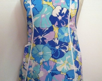 SALE - Vintage Bib Apron with Purple & Blue Flowers