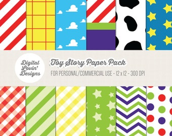 INSTANT DOWNLOAD - 12 Toy Story Digital Papers for Scrapbooking, Crafts, Invitations for Commercial and Personal Use