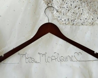 Bride hanger wedding dress hanger mrs by distinctivedesigns2 for Mrs hangers wedding dress