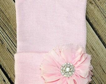 shabby flower pink Newborn beanie.  newborn hat. Baby girl hat, newborn girl hat, newborn hospital hat.newborn beenie