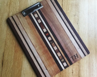 Handmade Personalized  Wooden Clipboard with Custom Initials Monogramming
