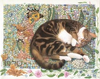 Lesley Anne Ivory Cat Artwork. Cat Art Print. Home Decor Wall Print.