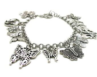 Butterfly Charm Bracelet, Butterfly Bracelet, Butterflies Bracelet, Butterfly Collection, Monarch Butterfly Bracelet, Butterfly Lover, Moth