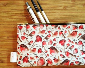 Robin, Pencil Case, Bird Pencil Case, Pencil Pouch, Make Up Bag, Pouch, Cosmetic Bag, Zipper Pouch, Bag, pencil bag, organiser, small bag,