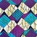 By the Yard African Wax Print Fabric Blue Purple Black Ankara Fabric 100% Cotton
