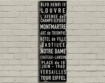 "PARIS, FRANCE Bus Scroll, Destination Poster, Subway Canvas, Rolled or Framed Canvas, 20"" x 60"""