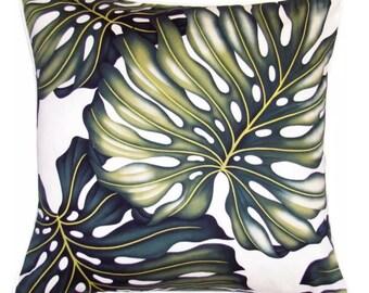 Tropical Cushion - Monstera Leaf on Cream Beach Coastal Polynesian Island Leaf