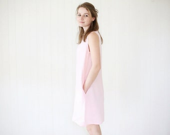 Wide linen tunica with side pockets. Washed soft linen tunica dress.