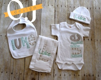 Personalized Baby Tan and Sage Green Gift Set - Newborn Gift Set Infant Bodysuit -  Newborn Hat - Bib - Burp Cloth - Baby Shower