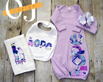 Personalized Baby Girl Gift Set - Newborn Gift Set - Infant Gown -  Newborn Hat - Bib - Burp Cloth - Baby Shower - Modern Purple