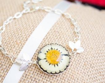 Real daisy bracelet, flower Jewelry, bracelet daisy flower, White flower bracelet, Birthday Gift
