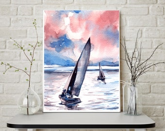 Nautical Art Print, Watercolor Painting of sailboats at sunset, watercolor print, modern wall art