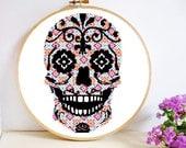 Sugar Skull Cross Stitch Pattern PDF Instant Download modern decor hoop art day of the dead Dia de los Muertos pink purple orange blue