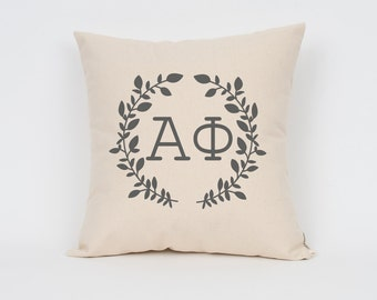 Alpha Phi Wreath Pillow // Choose Your Ink Color // Greek Letter Pillows // Sorority Pillow // Big Little Gift // Sorority Letters