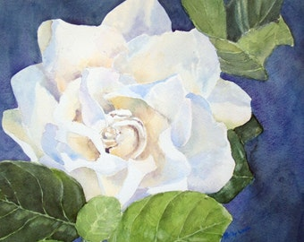 Gardenia Watercolor Painting White Flower Original Watercolor Original Art Original Painting 9 x 13 inches Matted to 14 x 18 inches
