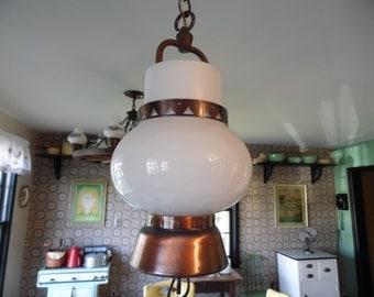 Vintage Arts & Crafts Mission Style Copper Hanging Light Fixture, Ceiling Fixture, Chandelier for Your Craftsman Bungalow
