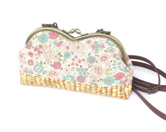 Floral and basket prints metal frame with shoulder strap