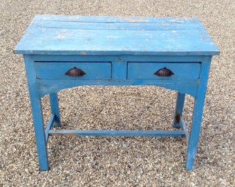 Blue Vintage Wooden Desk from Rajasthan, India