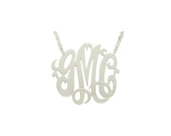 """Mono03A Personalized Sterling Silver 1.25"""" Three Initial Monogram Necklace"""