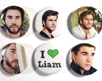 "Set of 6 Liam Hemsworth 1.25"" Pinback Buttons, Flat Backs or Magnets"