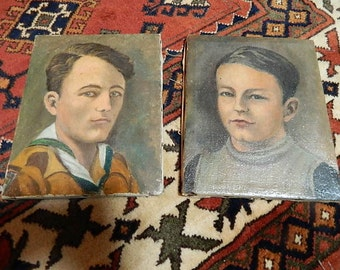small old paintings on canvas. set of 2 small oil paintings
