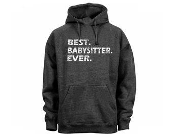Best babysitter ever distressed look dark heather grey man/women/junior pullover hoodie